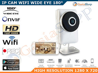 Telecamera Ip Cam 1 Mpx 720P Wireless Wifi Registra Micro Sd Onvif 180 Gradi