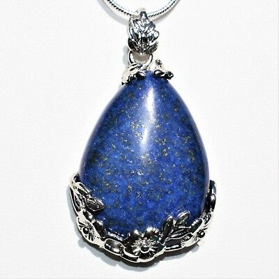 "Perfect Pendant™ - Lapis Lazuli Teardrop Pendant + 20"" Chain: ZENERGY GEMS™"
