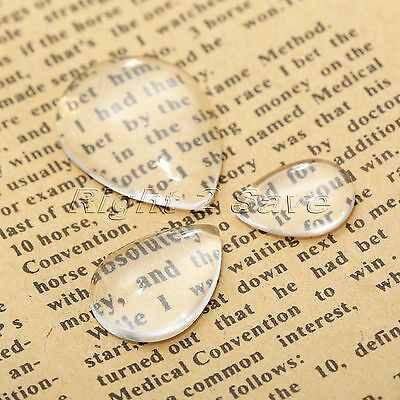 20Pcs Drop Clear Glass Dome Flat Back Cabochon Craft Magnify Base Cover Pendants