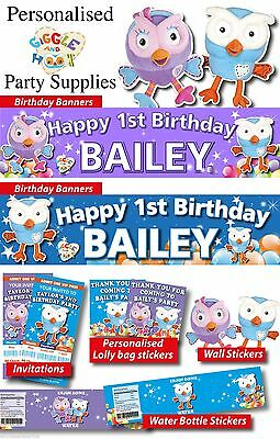Personalised Giggle and Hoot Birthday Party Banners Decorations and Supplies