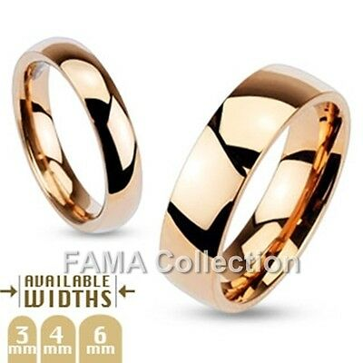 FAMA Stainless Steel High Polished Rose Gold IP Dome Band Wedding Ring Size 5-12
