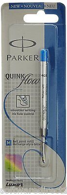 2x Parker Quink Flow Ball Pen Refill (Blue Ink,Medium Point) Brand New Sealed