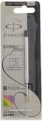 3x Parker Quink Flow Ball Pen Refill (Black Ink,Fine Point) Brand New Sealed