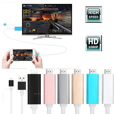 HD 1080P 2M 8 Pin Digital HDMI to HDTV AV Adapter USB Cable For iPad 2 iPhone 6