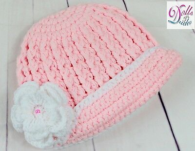 Newborn Baby Girl Crochet Knit Cotton Flower Beanie Pink Costume Hat Photoprop