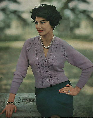 Vintage Knitting Pattern Ladys 1950s Fitted Cardigan 34 To 38 Inch