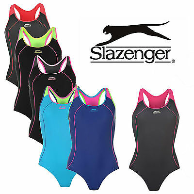 Womens Swimming Costume Ladies Racer Back Slazenger Swimsuit Swimwear Triathlon