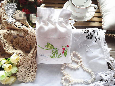 Vintage White Linen Sachet Bags Drawstring Ribbons Embroidered Butterfly Pouch