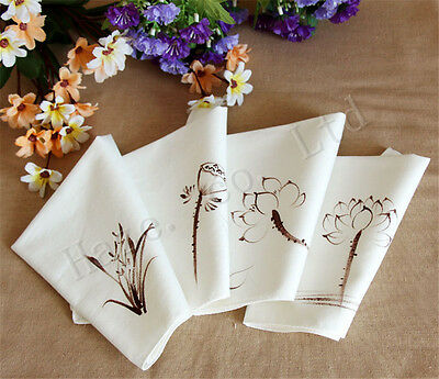 Comfortable Chinese Wind Cotton Towel Handkerchief hand-painted Gift