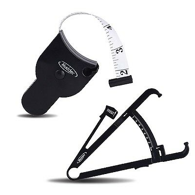 Mudder Personal Body Fat Tester Calipers with Tape Measure and Fat Charts Fit...