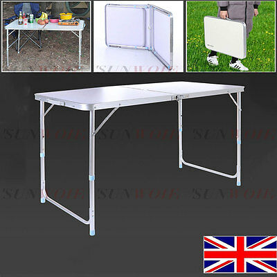 4Ft Folding Portable Outdoor Camping Picnic Party Dining Table Aluminum White UK