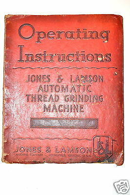 Operating Instructions: Jones & Lamson Automatic Thread Grinding Machine #Rr226