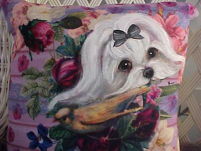 Maltese  Hand Painted Pillow Gorgeous!