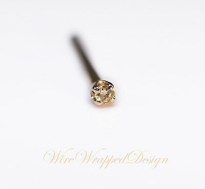 Diamond Genuine Brown DIAMOND Nose Stud 1.3mm 0.01ct Natural SI 14k Gold /Silver