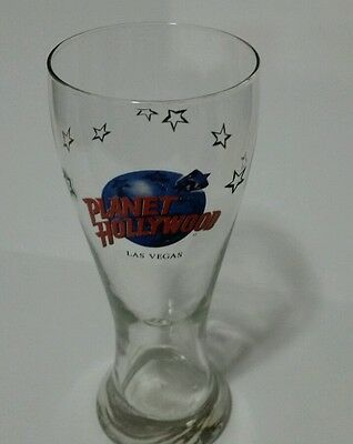 Vintage Planet Hollywood Las Vegas Beer Glass Stars 16 Ounces 8 1/2 Inches tall