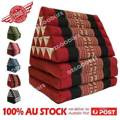 Jumbo SIZE 3-FOLDS Red Elephant Thai Triangle Pillow Mattress Cushion DayBed