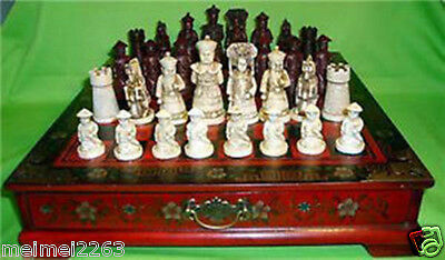 Collectibles Vintage 32 chess set & Leather Wood Box Flower Bird Table