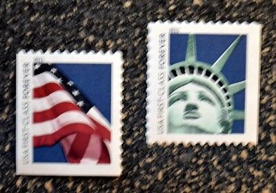 2011USA #4518-4519 Forever Lady Liberty & Flag Set of 2 Singles From ATM Booklet