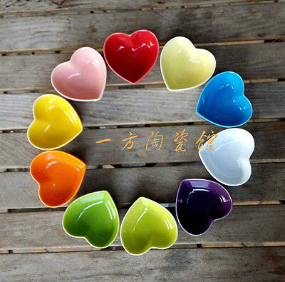 Cool Ceramic Condiment Plate Seasoning Holder Saucer Dish Colorful Heart Shape