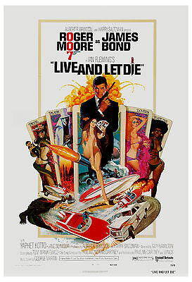 James Bond: * Live and Let Die * Roger Moore USA  Movie Poster 1973  13x 19