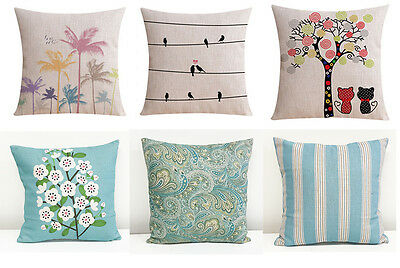 Home Decor Vintage Linen Cotton Cushion Cover Throw Pillow Case 45x45cm