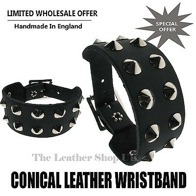 Wholesale Job Lot Leather Conical Studded Wristbands Punk Gothic Accessories