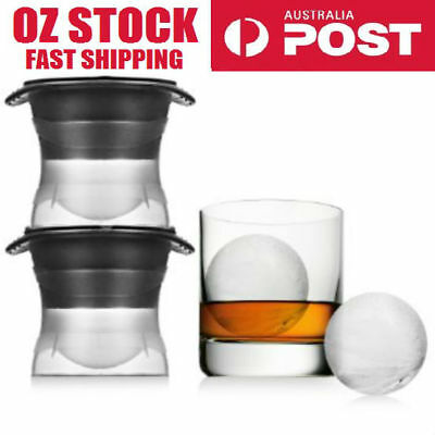 2 X Sphere Ice Ball Mold whiskey cocktail bar ice cube silicone tray mould