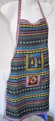 Embroidered Cotton Kitchen Apron with Front Pocket Country style