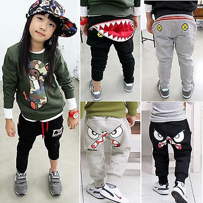 Boys Kids Girls Cartoon Print Harem Pants Loose Trousers Slacks Children Clothes