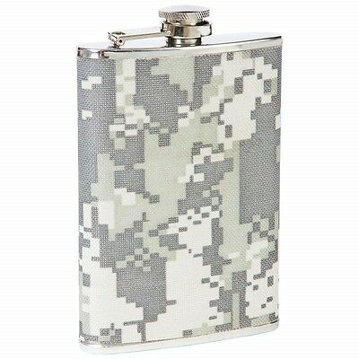 8 oz Digital Camo Wrap FLASK Stainless Steel Hip Pocket Green Camouflage Liquor
