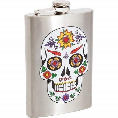 8oz SUGAR SKULL FLASK Stainless Steel Screw Cap Hip Pocket Liquor Alcohol Mexico