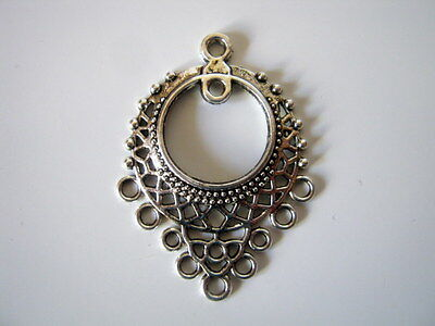 10 Antique Silver Plated Ornate Earring Pendant Connectors