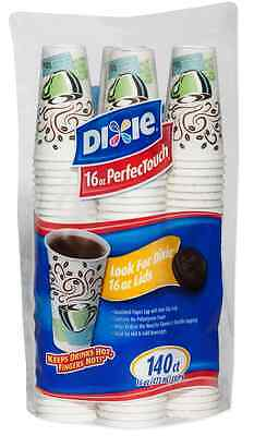 140 Count Dixie PerfecTouch Insulated Paper Hot Cups 16 oz Coffee Haze Design