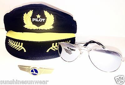 Ages 2 - 6 Aviator Kids Child Pilot Costume Party Hat Sunglasses & Vintage Pin