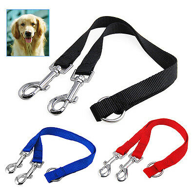 Twin Lead Duplex Double Dog Coupler 2 Way Two Pet Dogs Walking Leash Safety SP