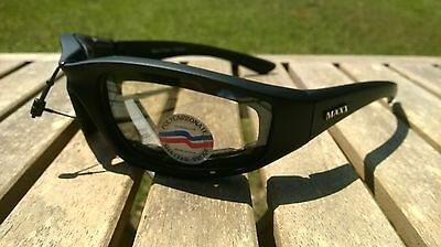 Maxx Motorcycle sunglasses Black clear lens foam padding ATV glasses goggles