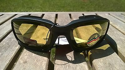 Maxx Motorcycle sunglasses Black yellow lens foam padding ATV glasses goggles