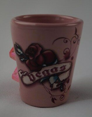 Ceramic Shot Glass Las Vegas Collectible Pink With Dice Tattoo Style Rose Cards