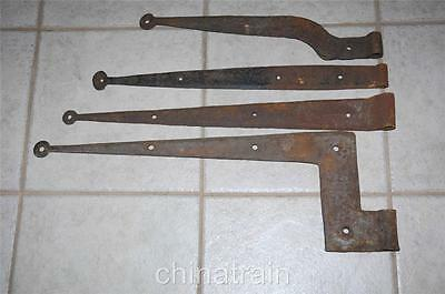 "4 Antique 25/23/21/18"" Hand Forged Iron Barn Door Wall Gate Strap Hinges"