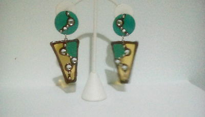 Large big dangle green yellow lucite enamel pierce earrings