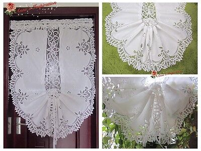 Adjustable Battenburg Lace Balloon Shade Curtain~White~Hand Embroidery~Fantastic
