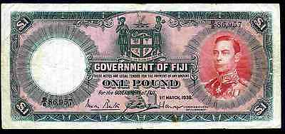 Fiji. One Pound, B/2 86,957. 1-3-1938,  Fine.