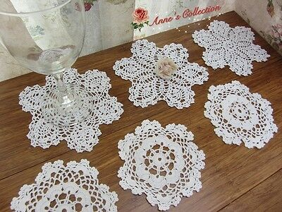 "12Pcs~Vintage Hand Crochet Lace Doily Applique~White~4"" Snowflake~5"" Star~Lovely"
