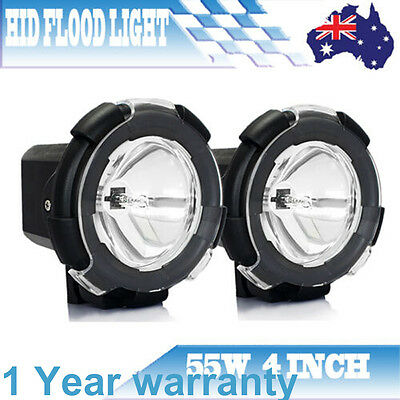 Pair 4 Inch 55W Hid Xenon Offroad Driving Flood Beam Light 4Wd Ute Working Lamp