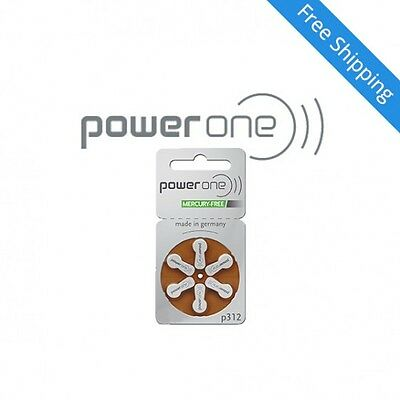 Power one hearing aid batteries (Size 312) - 5 cards (30 cells) MF
