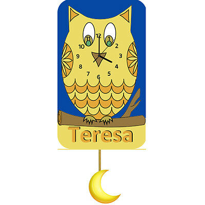 Personalised Owl Clock, Wall Clock, Pendulum Clock, Childrens Clock, Kids Gifts