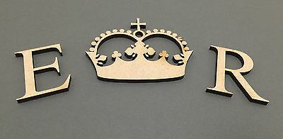 F255 Royal Princess Crown & Letters E R - MDF Decorate Your Own Wedding Post Box