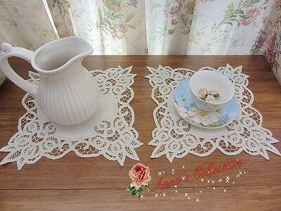 """Shabby Chic~TWO Handmade Battenburg Lace Doily~10"""" Square~Beige~Cottage Teatime~"""