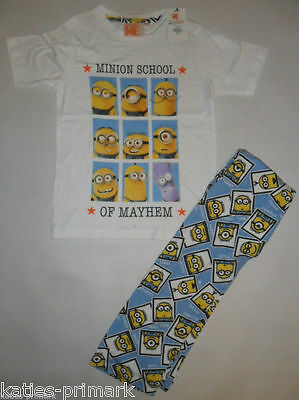 Primark Boys Girls Kids Minions Cotton Pyjamas Despicable Me Age 7 - 8 Unisex