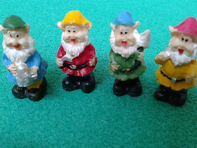 Dolls House Miniatures 1/12th Scale 4 Jolly Resin Garden Gnomes 4794